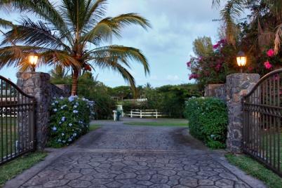 Private Rock Entry  Gate at 425 Manwai Place, Haiku, Maui, Hawaii