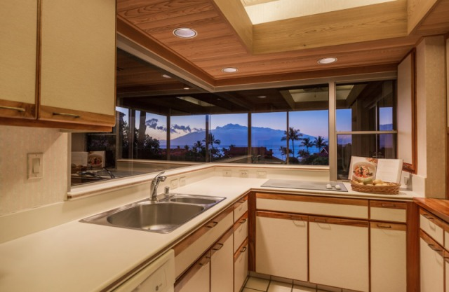 Wailea Point 2303 kitchen with ocean views