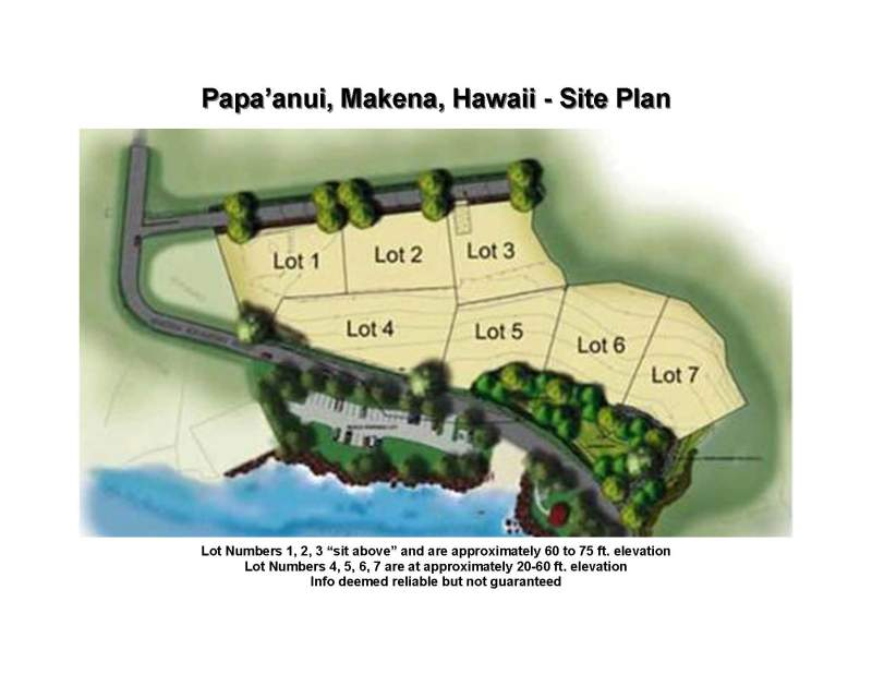 Makena, Maui, Papaanui site map, vacant lots for sale
