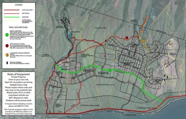 Lainiupoko, Maui, Hawaii  lots and  trail map