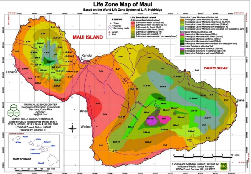 Maui Life Zone Map  Based on World Life Zone System by L.R Holdridge