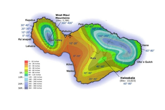 Maui Annual Rainfall Map