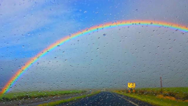 Rainbow down Haleakala Highway on my morning drive